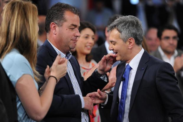 PN leader Simon Busuttil greets deputy leader Beppe Fenech Adami at the PN general council on May 24. Photo: Jason Borg