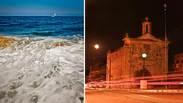 Waves in Marsascala. Right: San Silvestru chapel, Mosta. Photos: Maria Sammut