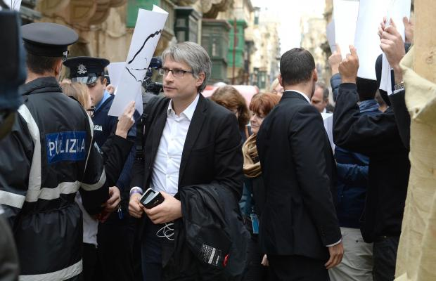 Sven Giegold attending a meeting in Valletta in December, amid protests. Photo: Matthew Mirabelli