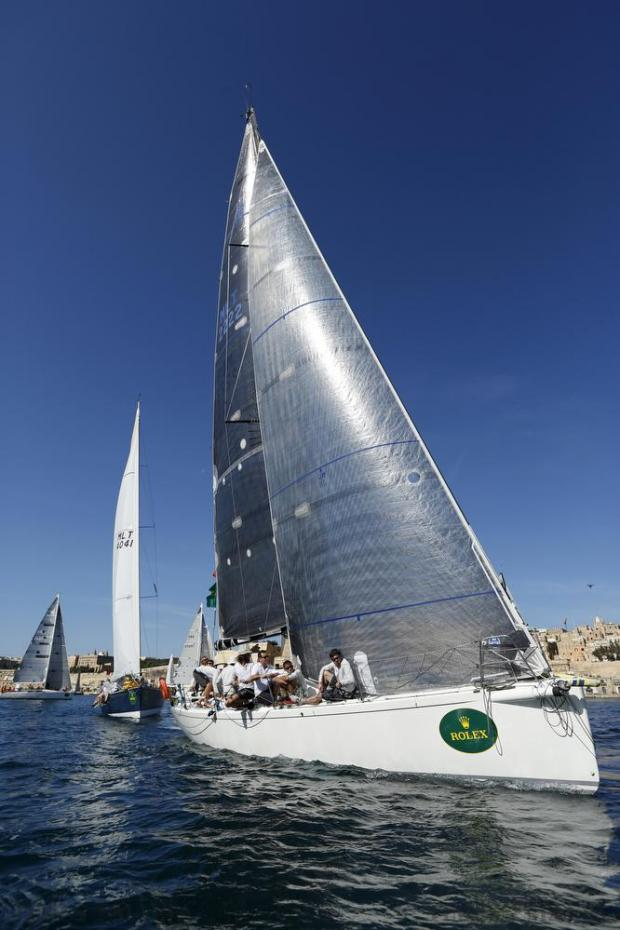 "The sailing boat ""Artie"" of Malta starts the Rolex Middle Sea Race in Valletta's Grand Harbour on October 22. Photo: Darrin Zammit Lupi"