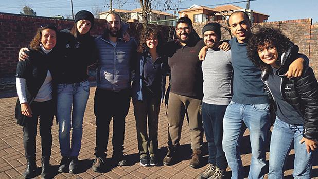 Daniela Gusman (first from left) with the seven Maltese volunteers in Lesotho: Janice Bonnici, Bernard Cachia, Clara Galea, Dean Sammut, Adrian Cassar, James Borg and Lorna Borg.