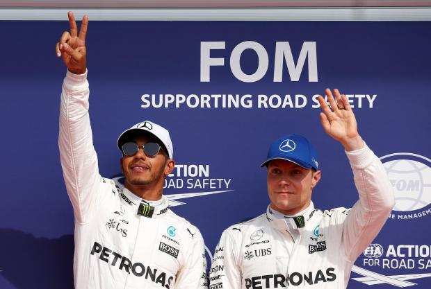 Lewis Hamilton with Mercedes team-mate Valtteri Bottas.