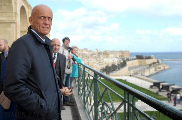 UEFA chief refereeing officer Pierluigi Collina admires the view from Upper Barracca Gardens in Valletta on January 20, whilst in Malta as a special guest of The World in 2017 Gala Dinner organised by The Economist. The former Italian referee visited various places of interest in Valletta. Photo: Matthew Mirabelli