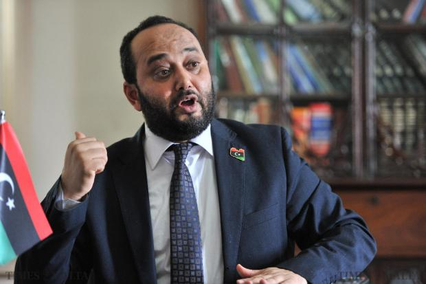 Tripoli's government Minister for Oil and Gas Mashala Agoub Said addresses a press conference at the Libyan Embassy on May 16. Photo: Jason Borg