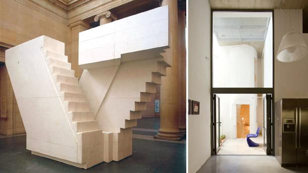 Staircases have always been an object of fascination to architects , designers and artists alike. In some cases they inspire illusion and deception. Untitled by Rachel Whiteread. www.tate.org.uk. Right: Originally conceived as a strictly utilitarian passageway which was to take up as little space as possible, at Casa Del Brio the (spiral staircase), tucked away at the rear of the property, was liberated from the walls and other structural elements abutting it to form outdoor terraces at different levels throughout the house, and to expose the now freestanding curvilinear structure as a veritable sculpture and focal point. Casa del Brio by Chris Briffa Architects, 2012. Photo: Chris Briffa Architects