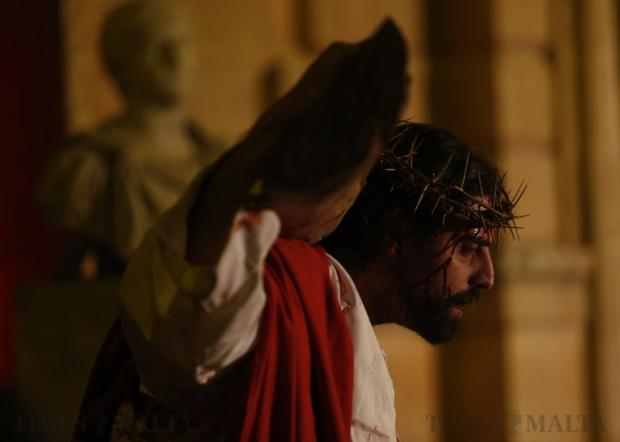 """An actor portraying Jesus Christ takes part in the interactive street-theatre Passion play """"Il-Mixja"""" (The Way), one of a series of Holy Week activities in the run-up to Easter, in the grounds of Mount Carmel Mental Hospital in Attard on March 22. Photo: Darrin Zammit Lupi"""