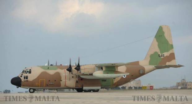 An Israeli Air Force Hercules C130 lands at Malta International Airport in Gudja on September 14. Photo: Matthew Mirabelli
