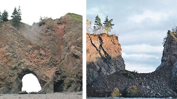 The collapse of the arch known as 'The Eye' in Nova Scotia.