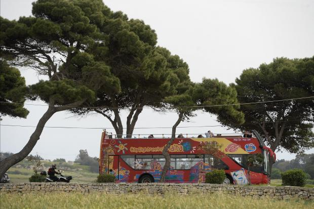 A tourist sightseeing bus makes its way up to Mdina on April 10, a day after two tourists and over 50 people were injured after a similar bus hit low lying branches of a tree in Zurrieq. Photo: Matthew Mirabelli