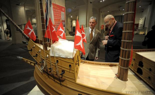 An impressive 2.5-metre handmade wooden model of the Great Carrack Sant' Anna, built for the Order of St John, has joined the collection of the Malta Maritime Museum in Vittoriosa. The museum's Keeper of Models, Joseph Abela (left), was commissioned to make the model by Heritage Malta and by the Order's naval historian, Prof. Magisteur Robert Dauber (right). The Sant' Anna was the largest warship built specifically for the Order's navy, in Nice in 1522. Photo: Matthew Mirabelli