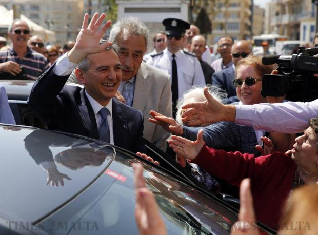 Nationalist Party leader Simon Busuttil is cheered by supporters after a meeting in Sliema on April 17. Photo: Darrin Zammit Lupi