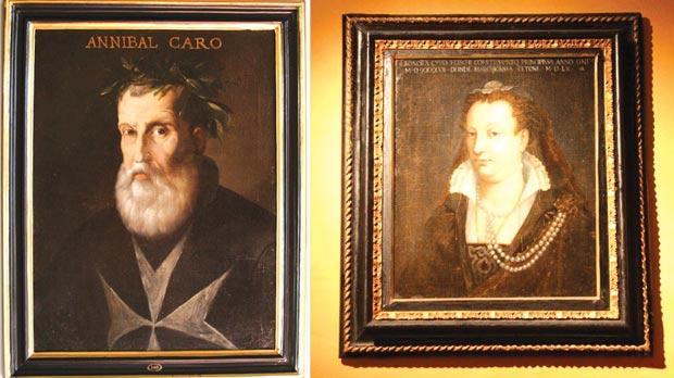 The Knight of Malta Fra Annibale Caro, a leading man of letters and friend of Laura Battiferra. Right: The only known portrait of Eleonora Cibo, wife of Chiappino Vitelli, is found in Malta (Courtesy of Palazzo Falson, Mdina).