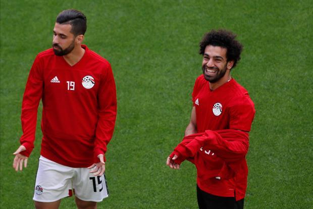 Egypt's Mohamed Salah and Abdallah Said during training.