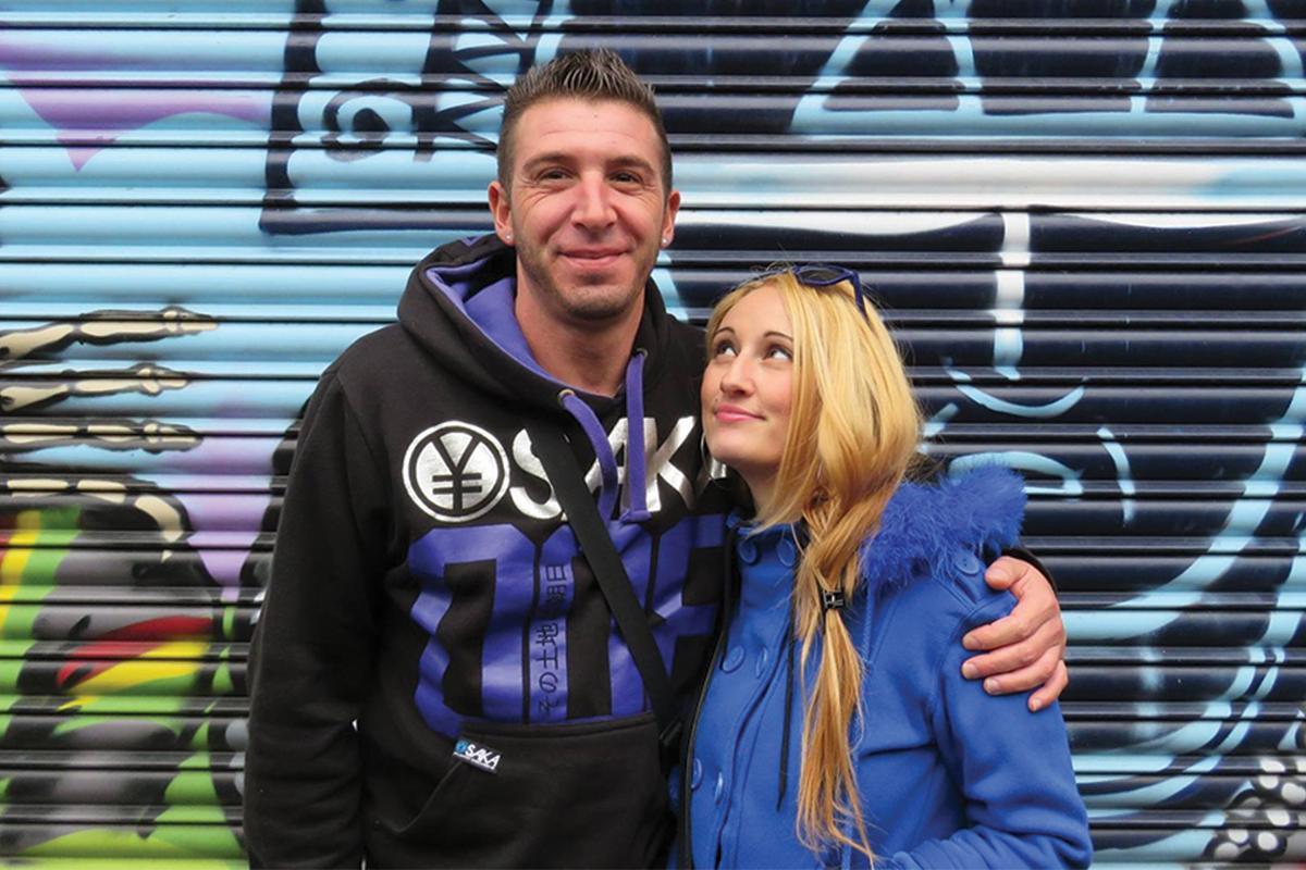 With her partner James Delmar.
