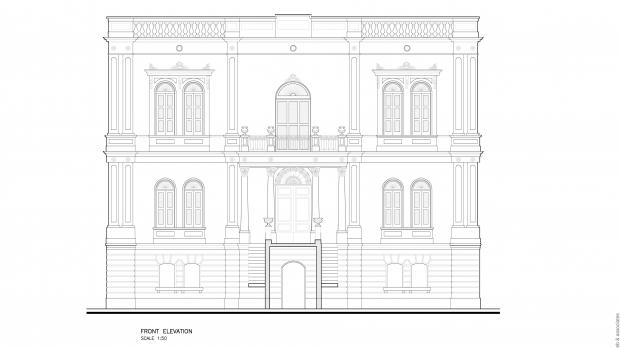 Front elevation drawing of Villa Drago by Martin Xuereb and Associates.
