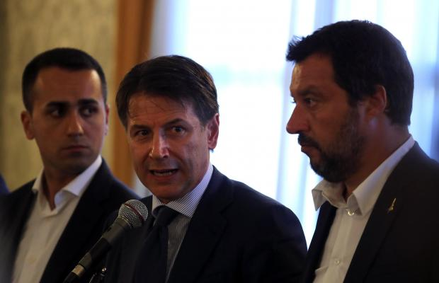 Italian Prime Minister Giuseppe Conte speaks during a media conference.