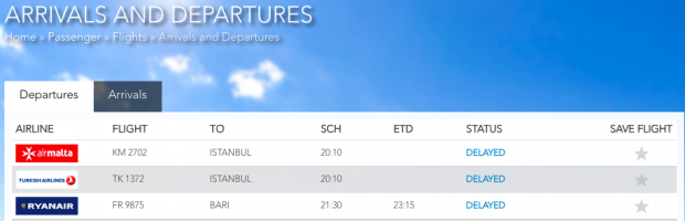 The MIA website showing the flights delayed as a result of the incident.
