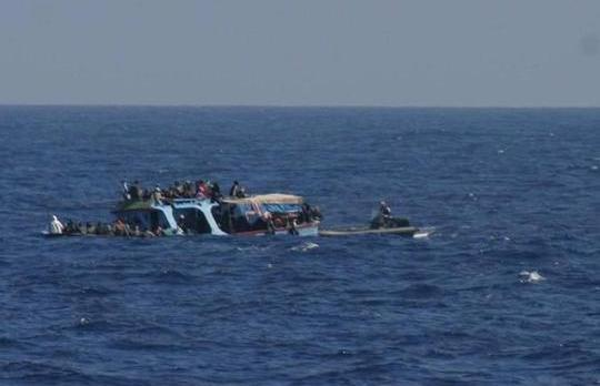 File picture - A migrants' boat which sank off Lampedusa on April 8.