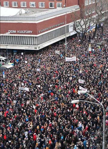 Slovak media estimated that 40,000 took to the streets. Photo: AFP