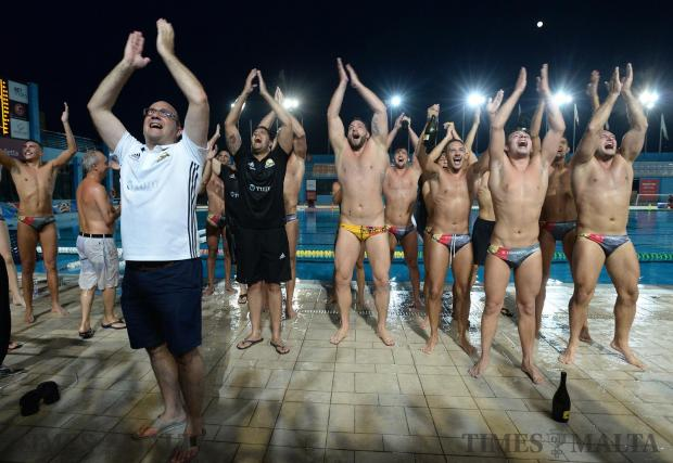 San Ġiljan players celebrate after claiming their tenth title and winning the BOV Premier Division at the National Pool in Tal'Qroqq on August 5. Photo: Matthew Mirabelli