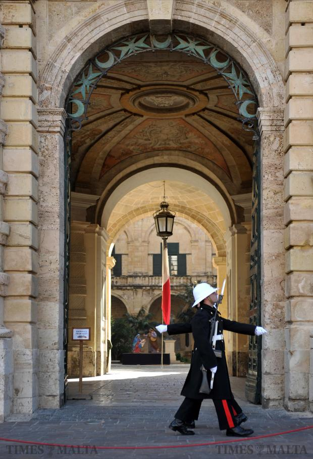 The ceremony of the changing of the guard at the Palace in Valletta is re-established on January 2, after an absence of nine months. Photo: Jason Borg