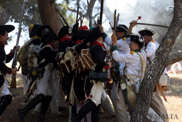 Re-enactors take part in a battle re-enactment in San Maison on June 5. Photo: Mark Zammit Cordina