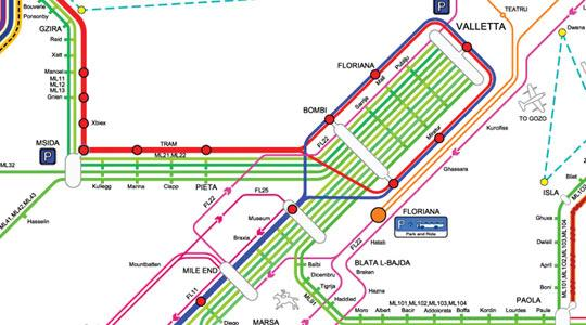 A section of the proposed public transport network map which bus drivers yesterday likened to the London Underground. See full map at http://videos3.timesofmalta.com/tomcdn/20081205--large-Malta_Day_service.png.