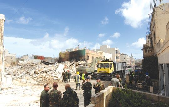 The scene of devastation in Naxxar on Thursday after a fireworks store exploded, killing two people and destroying neighbouring residences.