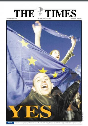 The front page of the Times of Malta on March 10, 2003, when EU membership referendum results were announced.