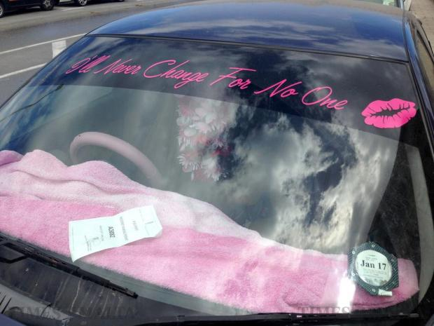 A driver expresses his/her philosophy in the form of a windscreen sticker on April 26. Photo: Chris Sant Fournier