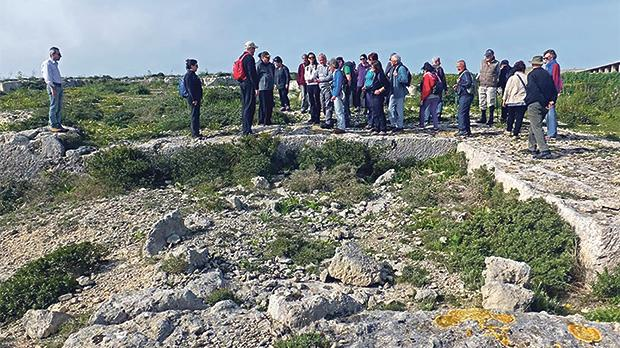 Ramblers at an old Roman quarry near Għar il-Kbir. Photos: Mary Attard