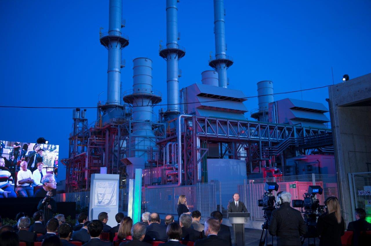 Prime Minister Joseph Muscat inaugurating the Electrogas power station in 2017