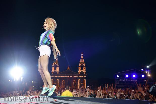 Singer Raye jumps on stage during her performance at the Granaries in Floriana at the Isle of MTV Festival on June 27. Photo: Mark Zammit Cordina
