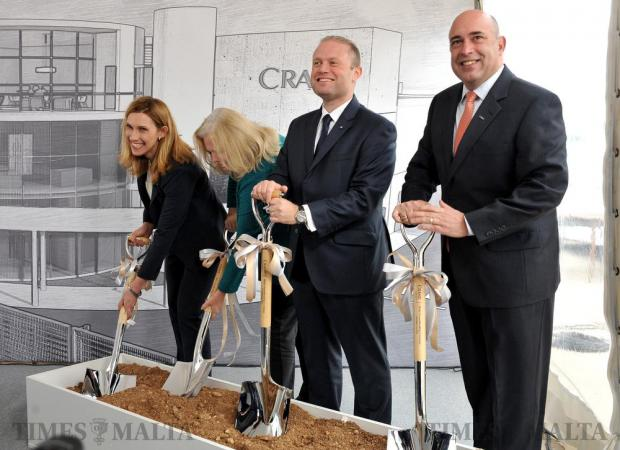 Prime Minister Joseph Muscat accompanied by Crane Currency CEO Stephen Defalco and US ambassador Kathleen Hill dig soil in a symbolic gesture to launch the construction of the Crane Currency factory in Hal-Far on December 14. The company is in the business of printing bank notes. Photo: Chris Sant Fournier