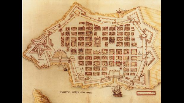 A 17th century map of Valletta. The red square marks the bakeries' location.