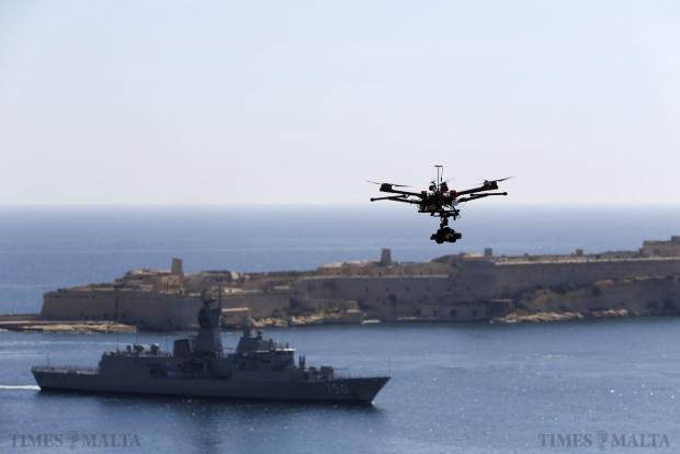 A drone is used for filming as the Australian frigate HMAS Anzac arrives in Valletta's Grand Harbour on May 11. The frigate visited Malta as part of the centenary commemoration of the Gallipoli campaign in World War One. Photo: Darrin Zammit Lupi