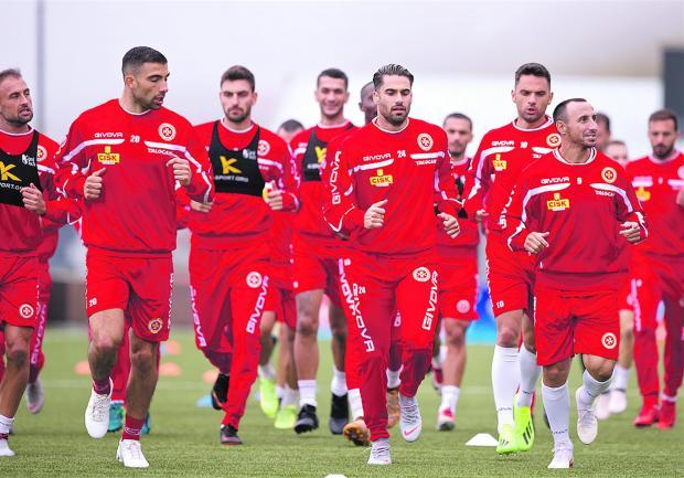 Malta players training in the Faroe Islands ahead of tonight's Nations League opener. Photo: Paul Zammit Cutajar/MFA