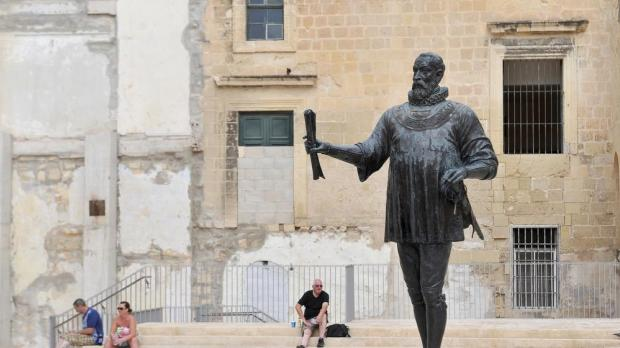 The statue of Grand Master Jean de la Valette is seen in Valletta on October 7. Photo: Chris Sant Fournier