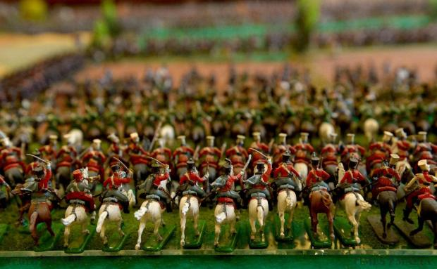 A diorama with more than 5,000 hand-painted soldiers represents the relative positions of the Napoleonic French army (in blue) and the British army (in red) and those of its allies – the Dutch, Belgians, Brunswickers and King's German Legion –in the opening phase of the battle of Waterloo, created by enthusiast Joe Galea Debono on June 19. Photo: Matthew Mirabelli