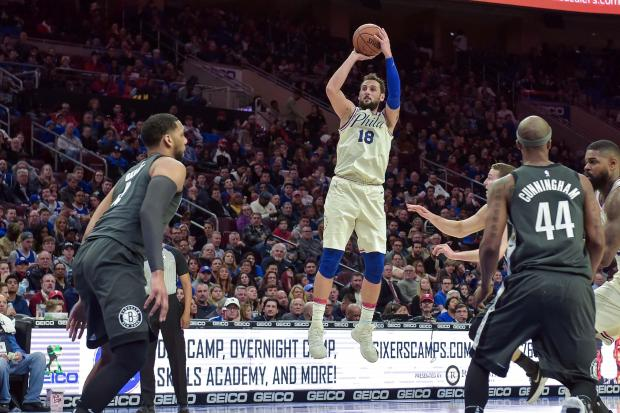 Philadelphia 76ers guard Marco Belinelli (18) shoots during the fourth quarter of the game against the Brooklyn Nets at the Wells Fargo Center. The 76ers won the game 121-95. Photo Credit: John Geliebter-USA TODAY Sports