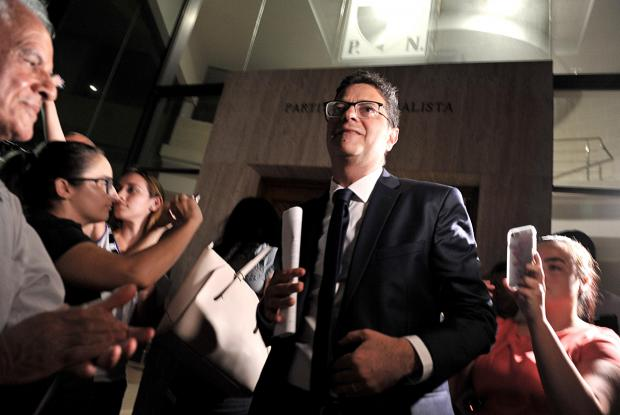 A combative Adrian Delia leaves the PN headquarters on August 30, after the Ethics Committee met to decide his eligibility to contest in the upcoming party leader elections. Photo: Chris Sant Fournier
