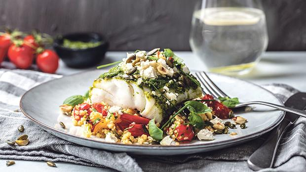 A nutritious lunch of cod and vegetables. Below: What a healthy diet might look like, according to the EAT-Lancet Commission on Healthy Diets from Sustainable Food Systems.