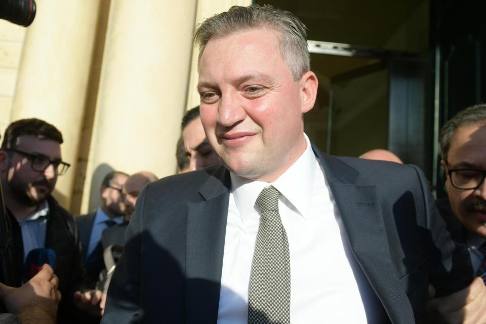 Konrad Mizzi walks out of Castille to announce his resignation in November 2019. Photo: Matthew Mirabelli