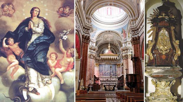 From left: The Immaculate Conception, a 17th-century Mannerist painting in the south transept of St Lawrence church, the church of St Lawrence is suffering the effects of war damage and excessive humidity and the artistic baptismal font erected in 1741.