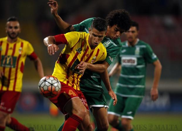Birkirkara's Vito Plut (front) and Floriana's Emerson Marcelina fight for the ball during their FA Trophy quarter-final at the National Stadium in Ta' Qali on April 20. Photo: Darrin Zammit Lupi
