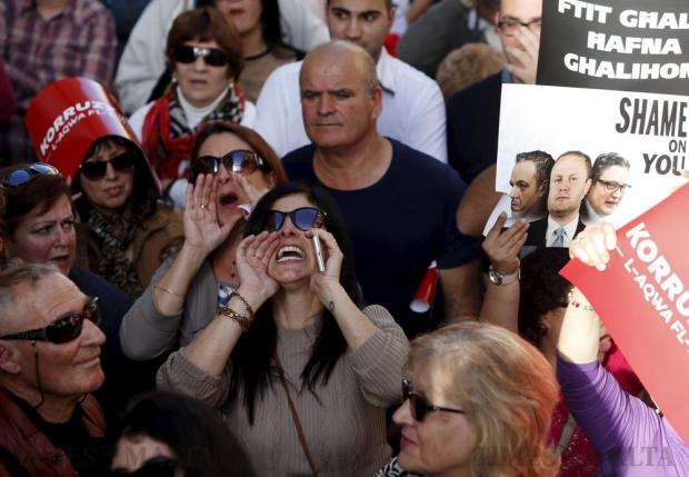 Protestors shout slogans during a demonstration against alleged government corruption in Valletta on March 6. Photo: Darrin Zammit Lupi