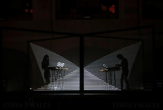 Illustrator Noemi Schipfer (left) and architect musician Takami Nakamoto of NONOTAK Studio of Paris perform inside Fort Saint Elmo during Notte Bianca celebrations in Valletta on October 1. Photo: Darrin Zammit Lupi