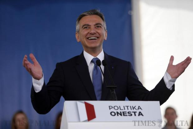 Nationalist Party leader Simon Busuttil speaks about the upcoming no-confidence debate in parliament during a meeting in Sliema on April 17. Photo: Darrin Zammit Lupi