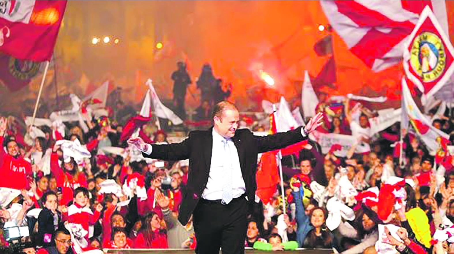 Joseph Muscat savours his 2013 landslide electoral victory.