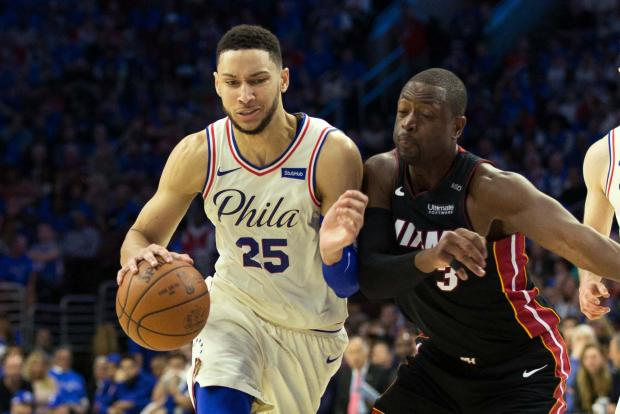 Philadelphia 76ers guard Ben Simmons (25) drives against Miami Heat guard Dwyane Wade (3) during the fourth quarter in game one of the first round of the 2018 NBA Playoffs at Wells Fargo Center. Photo Credit: Bill Streicher-USA TODAY Sports